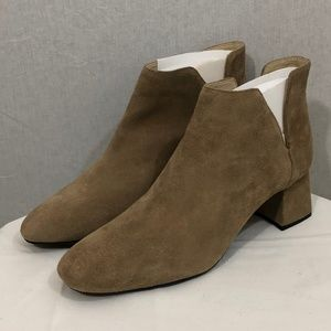 ZARA Trafaluc Taupe Suede Leather Ankle Bootie